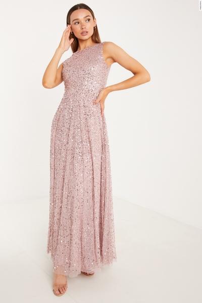 Pink Sequin Maxi Dress